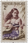 Polynesian stamp of a girl playing music