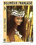 French Polynesian postage stamp: an islander girl