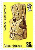 Coconut body armour from the Gilbert Islands, pictured on a postage stamp