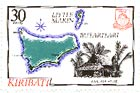 Kiribati stamp, showing a map