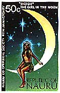 This stamp from Nauru features the story of the girl in the  moon