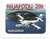 Stamp of an aeroplane over Niuafo'ou (once known as Tin Can Island)