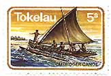 Tokelau stamp with traditional canoe