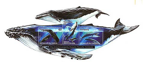 Whale postage stamps from Vanuatu